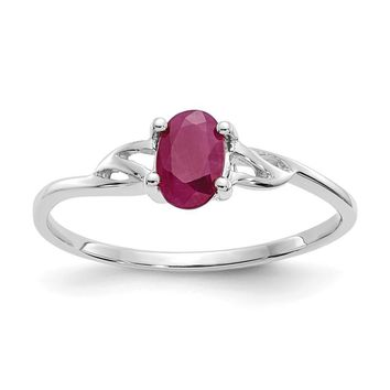 14k or 10k White Gold Genuine Oval Ruby July Birthstone Ring