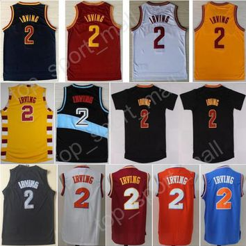 New Vintage 2 Kyrie Irving Jersey Men Throwback Sports Stitched Irving Basketball Jerseys Uniforms Team Red Black Blue White Orange Yellow