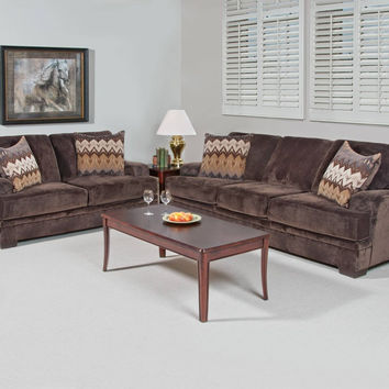 Serta Upholstery Olympian Chocolate Sofa and Loveseat