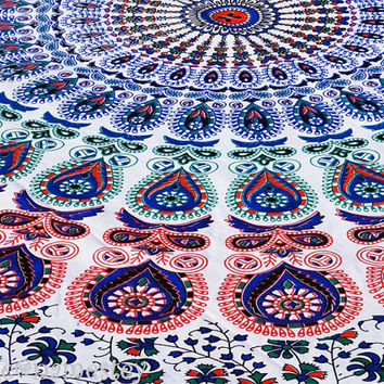 Mandala Floral Indian tapestry,Bohemian tapestry,Beach Throw,Indian tapestry,Dorm room Tapestry,Hippy Mandala Twin Tapestry