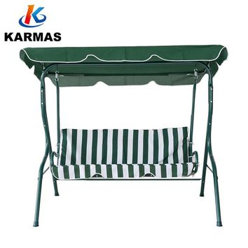 KARMASFAR Outdoor Stripe Swing 3 Seats Canopy Swing Chair  Garden Backyard Porch Cushioned Swing Outdoor Furniture