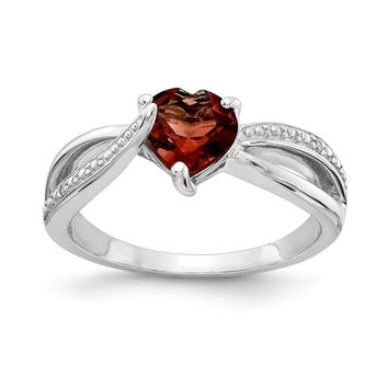 Sterling Silver 7mm Heart Garnet Genuine Diamond Accented Infinity Inspired Ring