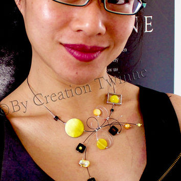 yellow and black necklace, fun unique jewelry design, bridal jewelry,funky necklace,bridesmaids gift ,mothers days gifts, wedding jewelry