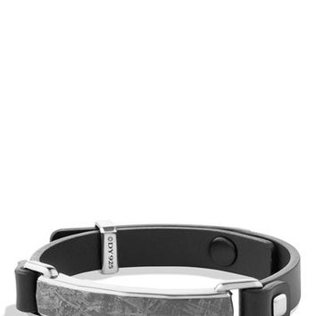 Men's David Yurman 'Meteorite' Leather ID Bracelet in Black