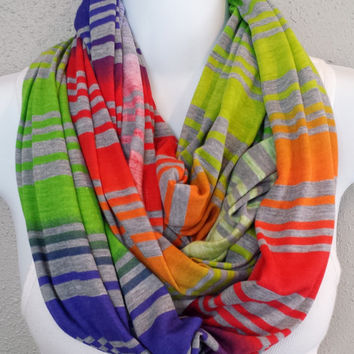 Rainbow Ombre with Light Grey Stripes Infinity Scarf Extra Long Womens Knit Circle Scarf Girls Fall Fashion Scarves Colorful Gift for Her