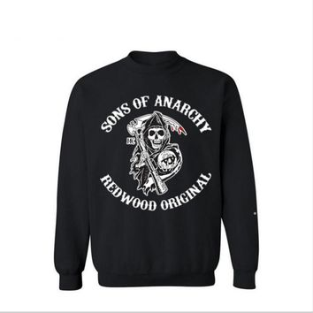 Sons of anarchy chaos son plus cashmere head tide brand sweater men Black