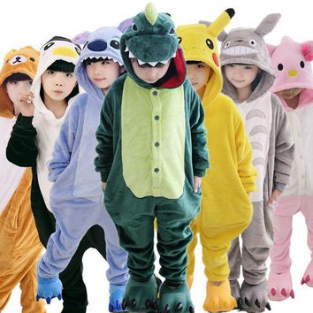 Children Pajamas Animal Unicorn Stitch Pikachu Dinosaur Panda Bat Wolf Onesuit Halloween Cosplay Costumes Sleepwear Girls Boys
