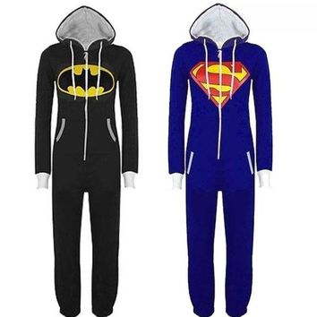 LMFUG3 New Unisex Womens Men Batman and Superman Print Hooded Zip Front Jumpsuit Onesuit