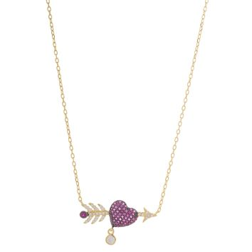 Gold Over Sterling Silver CZ Pink Heart and Arrow Necklace