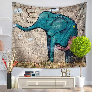 Animal Indian Tapestry Elephant Printed Wall Carpet Polyester Tapestries Home Decorative Bedspread Blanket Yoga Mat Beach Towel