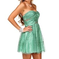Elly- Jade Glittery Short Dress
