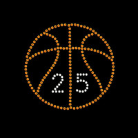 Basketball Customized with Numbers Rhinestone Transfer Iron On DIY Bling 34143