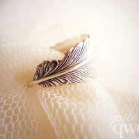 Whimsical Feather Wrapped Ring  Antiqued Silver by quiteqwerty