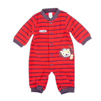 Lion The King Red Stripes Fleece Jumpsuit Baby Rompers for Boys Infantil Macacao Bebe Newborn Baby Boy Clothes Infant Clothing