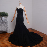 Sweetheart Sleeveless Lace-up Back Black Lace Mermaid Evening Dress Prom Gown Party Dress