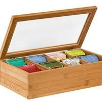 Sagler Tea Box Tea Storage Bamboo Natural, Nice Tea Chest Tea Packaging Good for Tea Bag Holder