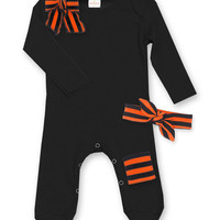 Black & Orange Stripe Patch Playsuit & Headband - Infant