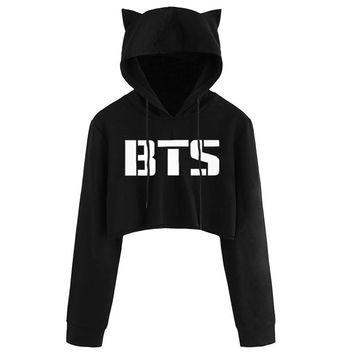 KPOP BTS Bangtan Boys Army Women Kawaii Cat Hooded Pullover Crop Tops  Album Love Yourself Tear Fake Love  Long Sleeve Cropped Hoodies Sweatshirt AT_89_10