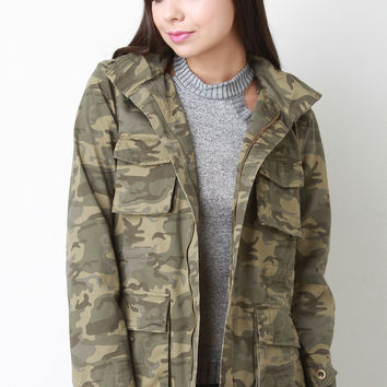 Camouflage Canvas Hooded Utility Jacket