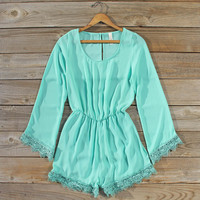 Wintertide Lace Romper in Mint