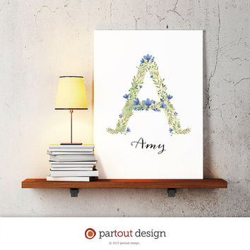 letter A baby nursery art watercolor monogram logo personalized gift name initial art print printable letter nursery decor initial name art