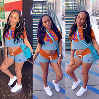 Champion Fashion Woman Casual Print Color Matching Short Sleeve Top Shorts Set Two Piece Sportswear