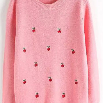 Pink Cherry Embroidered Sweater
