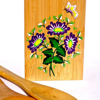 Hand Painted Bamboo Utensil Holder Kitchen Decor