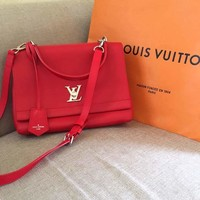Louis Vuitton LOCKME Red M50250 Hand Tote Shoulder Bag Leather Used
