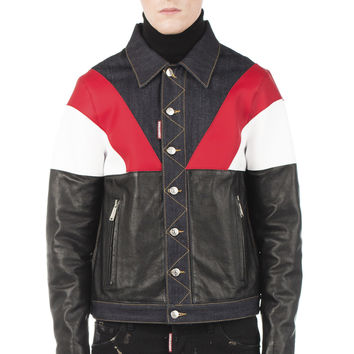Colorblock Leather and Denim Jacket