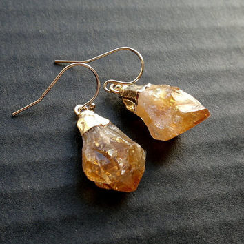 Citrine Earrings Raw Citrine Point Earrings Citrine Jewelry Gold Filled Earrings Orange Stone Earrings Gemstone Earrings Gold Plated Stone
