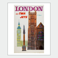 London Big Ben Vintage Travel Poster Print