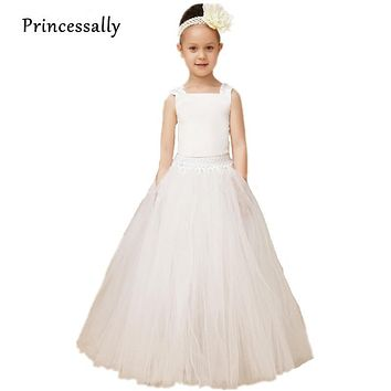 High Quality Tutu Dress Flower Gown Angelic Ivory Flowergirl Dress Tutu Skirt Tank Lace Up Girls Pageant Dresses Toddler Easter