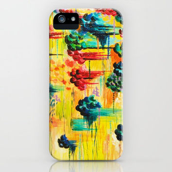 HERE COMES THE RAIN - Abstract Acrylic Painting Rain Storm Clouds Colorful Rainbow Modern Impasto iPhone Case by EbiEmporium | Society6