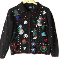 Shop Now! Ugly Sweaters: Slushy Snowmen Tacky Ugly Christmas Sweater / Cardigan Women's Size Medium (M) $20 - The Ugly Sweater Shop