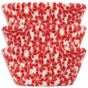 Red Pinwheel Baking Cups