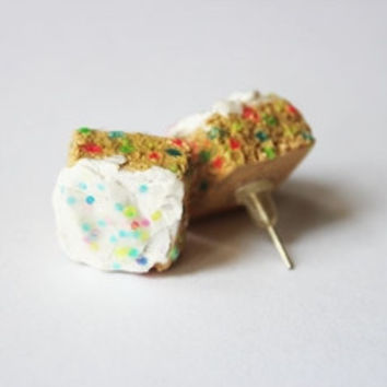 Miniature Food Rainbow Glitter Cake Squares Kawaii Stud Earrings