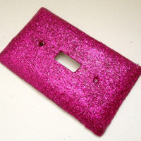 Single Light Switch Plate Cover--Hot pink glitter, colorful, sparkly