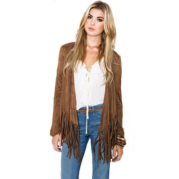 Fall Winter Women Jackets Fashion Fit Short Tassel Hem Fringed Suede Long Sleeve Cardigan Outwear Tops Jaqueta Feminina MDC873