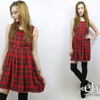 Vintage 90s Red Plaid Babydoll Dress S M 90s Grunge Dress Red Plaid Dress Plaid Mini Dress Plaid Jumper 90s Dress 90s Mini Dress