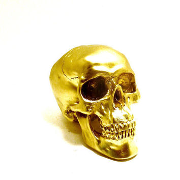 skull head, halloween, metallic gold, spooky, skulls, eclectic home decor, gold accents, creepy, october, autumn, heads