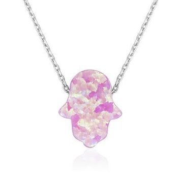 Small Pink Opal, Silver Hamsa Necklace