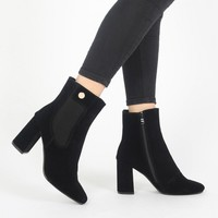 Trisha Ankle Boots in Black Faux Suede