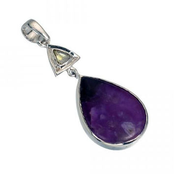 Stunning Sugilite and Diamond Cabochon Pendant set in 925 Sterling Silver