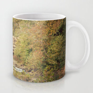 Art Coffee Cup Mug In the Woods 4 Photography home decor Java Lovers green trees brown scenic landscape nature earth tones yellow path rocks