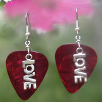 Love Guitar Pick Earrings - Your Choice of Color