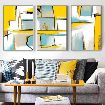 Abstract Yellow Geometric Pictures Nordic Minimalist Canvas Paintings Wall Art Poster Print Living Room Home Decor Drop shipping