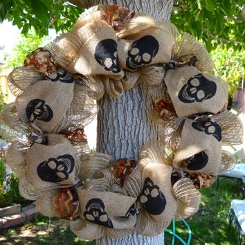 Burlap Skull Wreath with Chevron accents