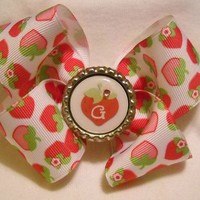 Strawberry Boutique Hairbow with Bottlecap Initial Center