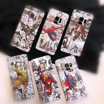 For Samsung S9plus S8plus Note9 Note8 Phone Case Marvel Avengers Batman Captain America Relief Painting Hard Plastic Back Cover